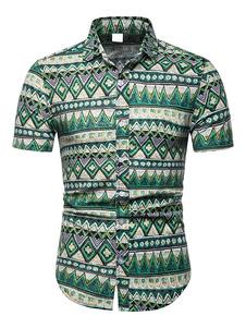 Image of Camicia casual da uomo Camicia estiva con stampa etnica verde Ca
