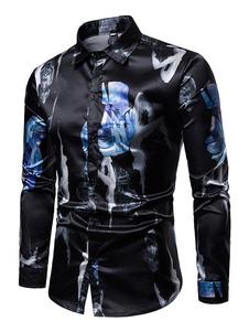 Image of Camicia casual da uomo a maniche lunghe con stampa camicia nera