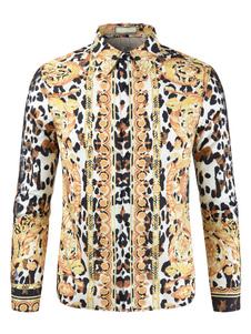Image of Camicia casual da uomo Camicia a maniche lunghe con stampa leopa