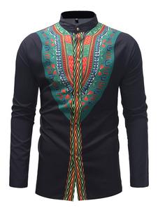 Image of Camicia casual nera da uomo a manica lunga con colletto etnico