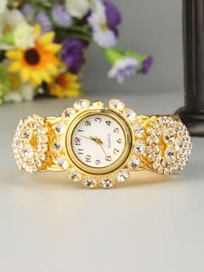 Montre-bracelet en or avec strass et cadran rond pour les femmes