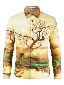 Image of Camicia casual da uomo a maniche lunghe con stampa 3D Camicia gi
