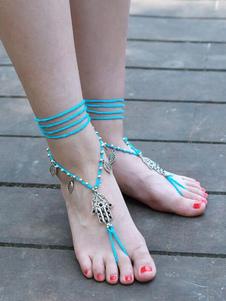 Image of Beach Anklet Leaf Charm Ankle Bracelet Perizoma sandali a punta