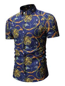 Image of Camicia casual a maniche corte con stampa camicia a catena uomo