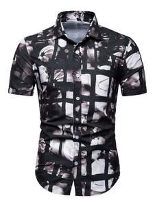 Image of Camicia casual a maniche corte con stampa camicia nera da uomo
