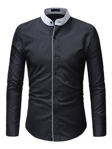 Image of Camicia Uomo Casual Camicia con colletto Due bottoni Camicia ner