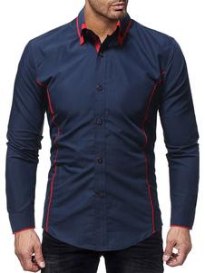 Image of Camicia casual da uomo Camicia a maniche lunghe a due tonalità c