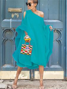 Image of Vestito lungo da donna 2020 Abito oversize a trapezio a spalla i