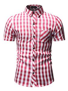 Image of Camicia a maniche corte da uomo 2019 Camicia casual rossa a quad
