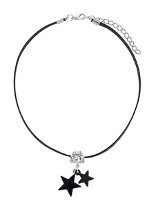 Image of Star Choker Necklace Strass Black Leather Like Women Jewelry
