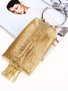 Image of Evening Clutch Bags Hoop Rhinestone Chains Fringe Party Handbags