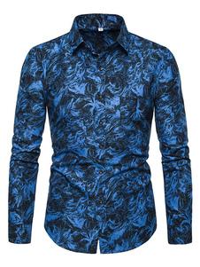 Image of Camicia a maniche lunghe da uomo 2019 Camicia casual blu con sta
