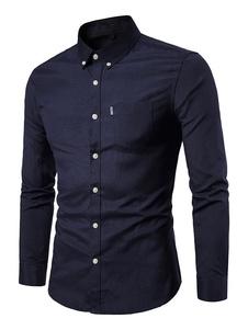 Image of Camicia a maniche lunghe da uomo 2019 Camicia casual nera slim f