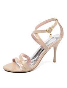 Image of High Heel Sandals Nude Open Toe Strappy Sandal Shoes For Women