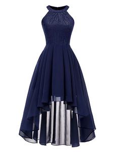 Image of Vintage Maxi Dress Chiffon Lace High Low Sleeveless Women Prom D