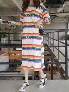 Image of Abito estivo a righe arcobaleno con t-shirt maniche lunghe da do