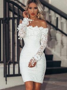 Image of Abito tubino in pizzo Bardot 2020 Vestito aderente sexy con mani