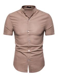 Image of Camicia casual da uomo. Camicia slim fit a manica corta