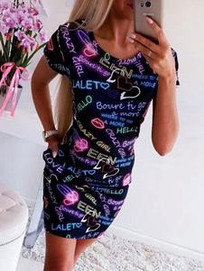 Image of Abito da donna con logo T Shirt 2019 Abito da donna a maniche co