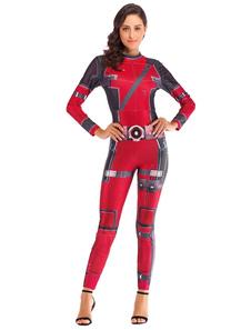 Image of Costumi da donna supereroi Tuta in poliestere stampato bordeaux