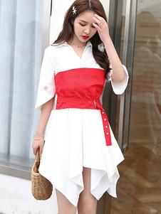 Image of Abito chemisier donna Vestito mezza manica bicolore bianco con c