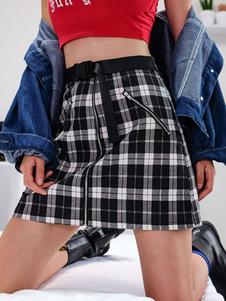 Image of Gonna a quadri da donna 2020 Gonna corta con zip e cintura A lin