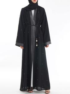 Image of Abaya Maxi Dress Vestito da donna musulmana con maniche lunghe a