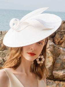 Image of Costume Carnevale Cappello Fascinator da donna Cappello Ecru Whi