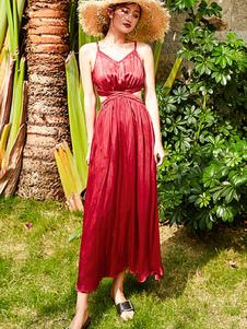 Image of Abito estivo rosso Vestito lungo da donna Vestito lungo tagliato