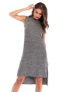 Image of T Shirt Abiti Plus Size Grigio Abito senza maniche a fessura alt