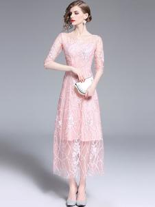 Image of Abiti da festa rosa Vestito lungo da donna con maniche lunghe ri