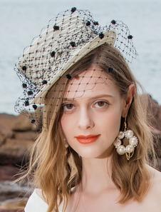 Image of Costume Carnevale Cappello Fascinator da donna con cappello bian