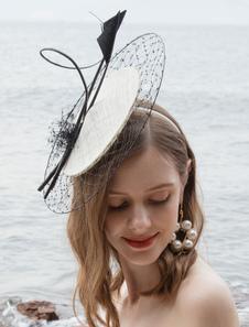 Image of Costume Carnevale Cappello da donna retrò cappello di piume bian