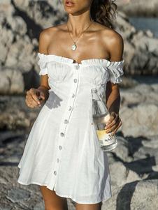 Image of Abito estivo bianco con bottoni sulle spalle Vestito da donna da