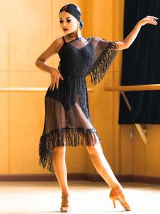Image of Costume da ballo latino Vestito da tuta nera per donna Vestito d