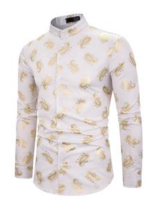 Image of Camicia da uomo Paisley Pattern Camicia a maniche lunghe da uomo
