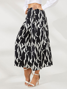 Image of Pantaloni larghi Pantaloni da donna stampati in vita naturale ne