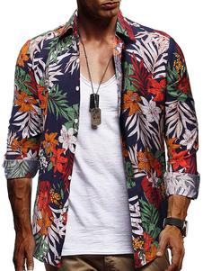 Image of Camicie da uomo Camicia casual da uomo con colletto alla rovesci