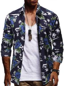Image of Camicie da uomo Camicia casual da uomo stampata con colletto rov
