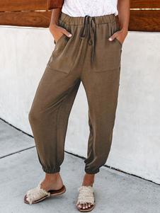 Image of Pantaloni casual da donna Pantaloni in vita elasticizzati marron