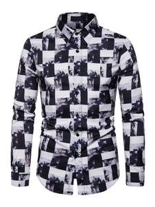 Image of Camicie da uomo Camicia da uomo Colletto rovesciato Casual Casua
