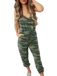 Image of Tuta da donna mimetica Tuta verde senza maniche con scollo a V s