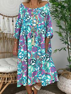 Image of Abiti lunghi oversize Vestito lungo da donna stampato scollo azz