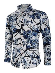 Image of Camicia casual per uomo Colletto rovesciato Camicia da uomo bian