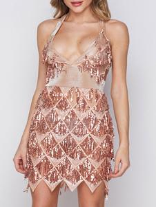 Image of Sequin Party Dresses Glitter Flapper Dress Fringe Sleeveless Sem