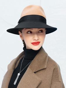 Image of Cappello da donna Fedora 100% lana Cappello da festa Cappello a