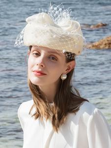 Image of Costume Carnevale Cappello da donna retrò cappello bianco perla