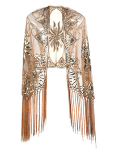 Image of Flapper Dress Shawl Fringe Beaded Sequin 1920s Great Gatsby Acce