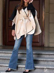 Image of Cappotto invernale da donna poncho oversize bicolore con poncho