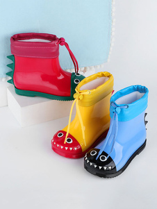 Image of Kids Rain Boots Practical PVC Upper Waterproof Color Block Round
